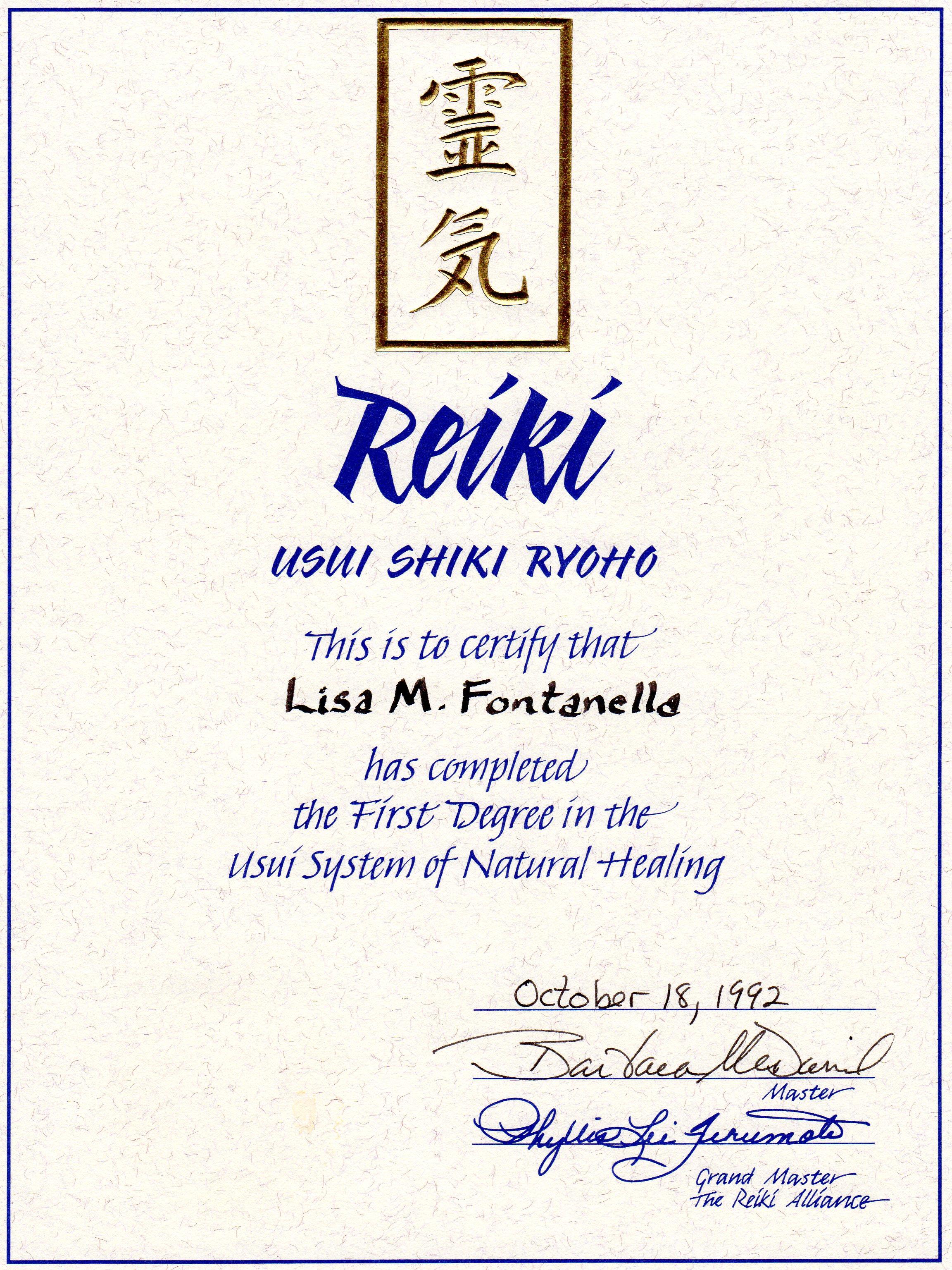 Reiki Level 1 Certificate