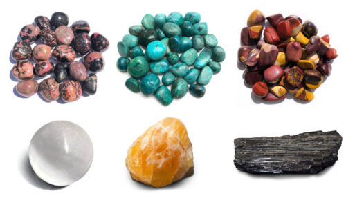 Collect all of Crystal's Gemstones! You'll receive one of each – Rhodonite, Chrysocolla, Mookaite, Orange Calcite, Black Tourmaline, Selenite.